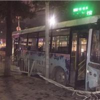 女子公交车坐过站抢司机方向盘 致公交车撞电线杆
