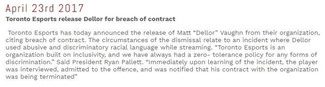 加拿大战队 Toronto 因《斗阵特攻》选手 Dellor 种族歧视言论与其终止合约